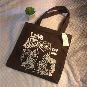 "NWT Roxy ""Love Hoo YOU are"" brown tote"